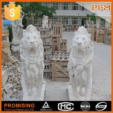 2014 PFM hot sale natural marble made hand carved marble bull and lion