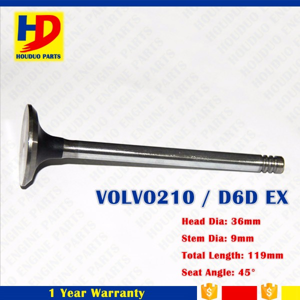 Engine Parts Valve For Excavator Valve Inlet Or Outlet Of Volvo D6D 210