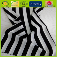 new High twist chiffon fabric with black and white striped polyester fabric