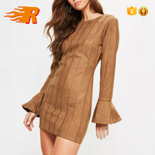Causal Winter 100% Polyester Tan Faux Suede Stitch Detail Bodycon Dress