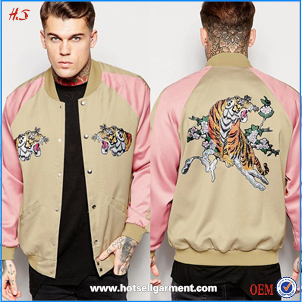 wholesale latest fashion satin winter outdoor embroidery print custom men's bomber jacket