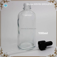 100ml Transparent Clear Glass Bottle For Vanilla Extract Or Fluid Essential Oil Bottle