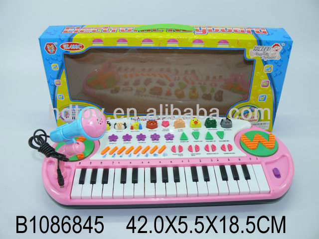 musical instrument plastic toy 32key electronic organ with microphone
