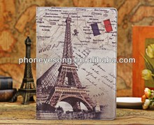 For iPad Air 5 Leather Case Smart Magentic Cover Eiffel Tower Stand Case