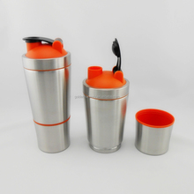 700ml+200ml protein shaker /304stainless steel shaker bottle