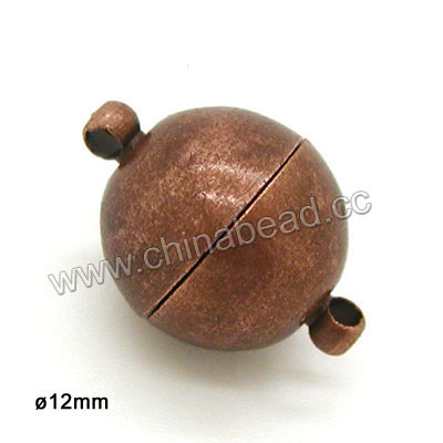 Popular 12mm round brass antique copper magnetic clasp jewelry findings for jewelry making