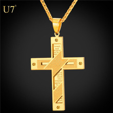 U7 18k Gold Plated unique Cross pendants Men Necklace Stainless Steel Jewelry Wholesale Holy Bible Double Sides Cross Pendant