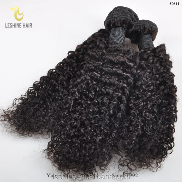 Full Bottom Natural Color For Pretty Girls Virgin French Curl Brazilian Hair