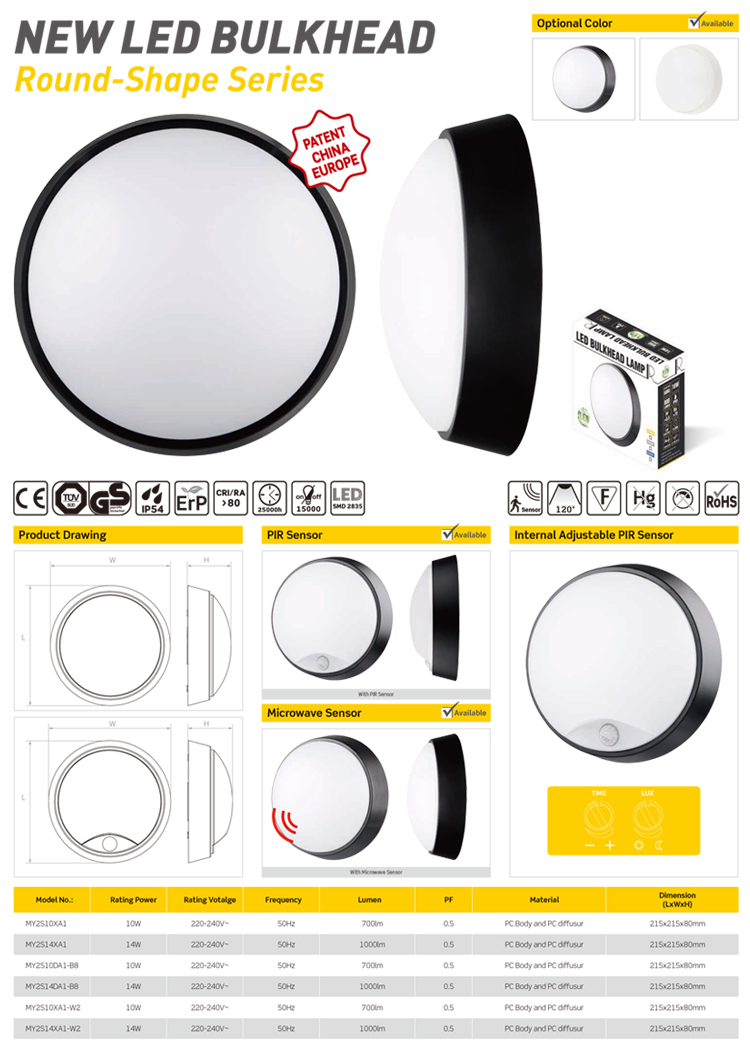 IP54 outdoor led plastic bulkhead light