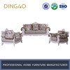 European Wooden Royal Sofa Solid Wood Furniture 3+2+1 Sofa Set Fabric Royal Sofa Set #6170