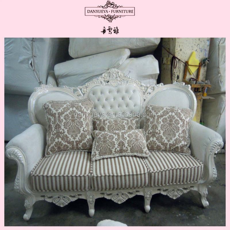 Mediterranean Style Half Leather Fabric Sofa Heart Shaped