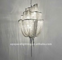 (XCP1080) Atlantis 3 Tier silver aluminum chain led modern chandelier