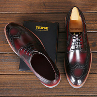 TERSE vintage tyle Brogue shoes men genuine leather handcrafted Italian leather dress shoes custom shoes China manufacturer