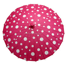 wholesale cheap handmade japanese paper umbrella fuchsia with red polka dots
