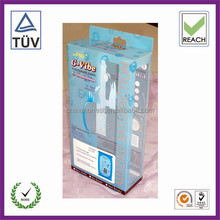 hanging retail clear folding box/custom clear pvc plastic hanging boxes/clear tuck top box with hanging hole