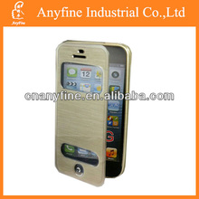 brushed metal TPU flip case for Samsung S4 i9500 with window design