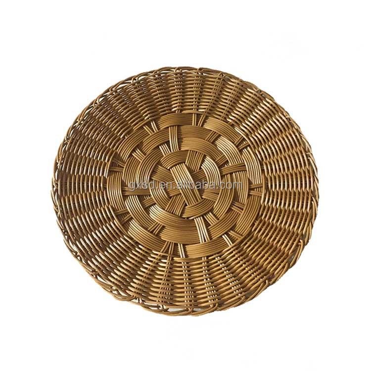 100% handmade high quality PE rattan durable SGS testing food grade round deserve bread basket cake tray