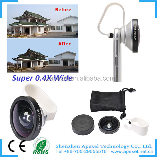 Apexel New Self Shot 0.4x Super Wide Angle Lens Wholesale 0.4x Super Wide Angle Lens Lens For iphone 6 APL-SW04