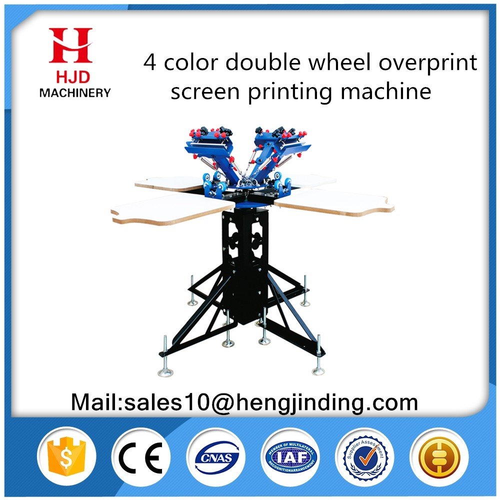 Double rotary 4 color 4 workstation t-shirt silk screen printing press machine printer