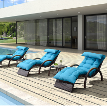 Classic Garden All Weather Wicker lounge Rattan chaise chair Outdoor Furniture Sun Lounge Setting used hotel pool furniture