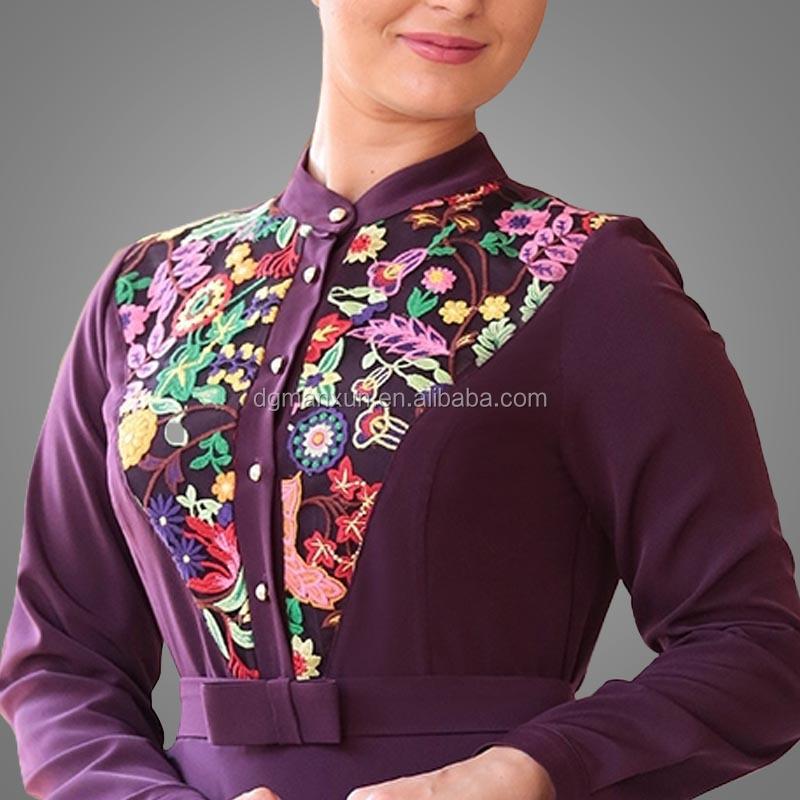 Elegant Muslim Islamic Evening Dress Lace Embroidery Women Dress Slim fit Abaya Dubai 2017 (4).jpg