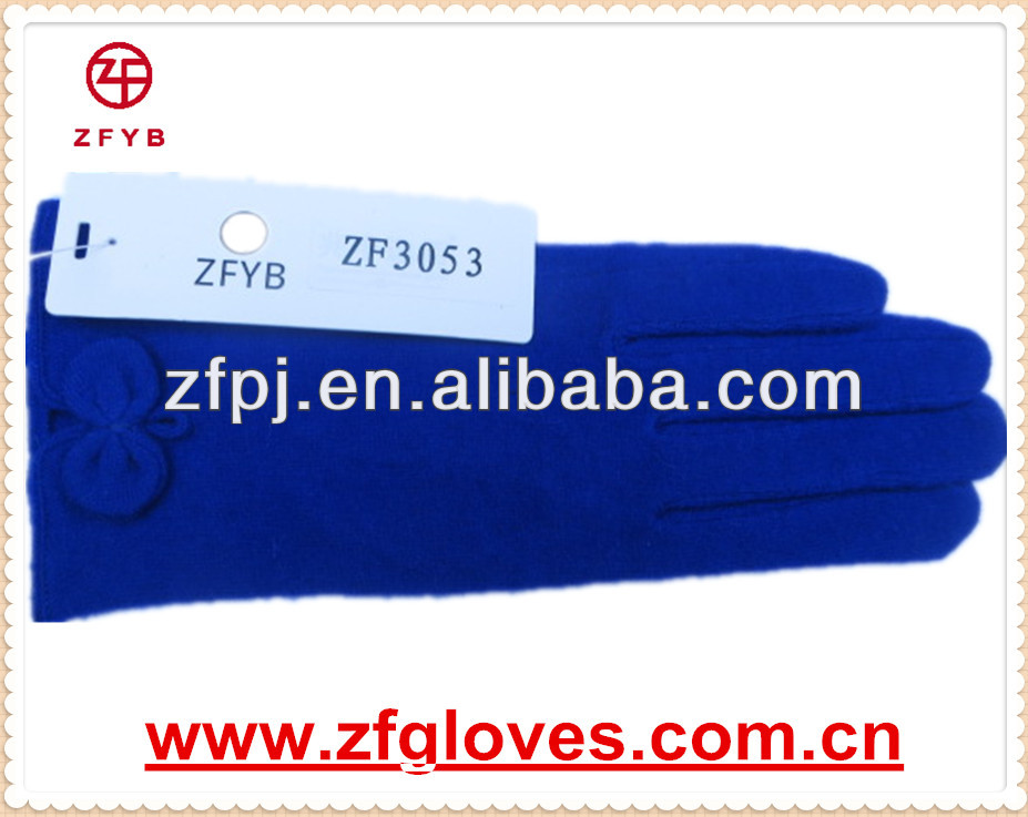 Blue wool gloves/woolen driving gloves with manufacturer in china