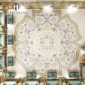 custom high quality chic flower pictures marble floor tile designs