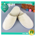 Polyester Velvet Pile Hotel Slippers / Beige Personalized Velour Pile Home Room Slippers / Wholesale Closed Toe EVA Spa Slippers