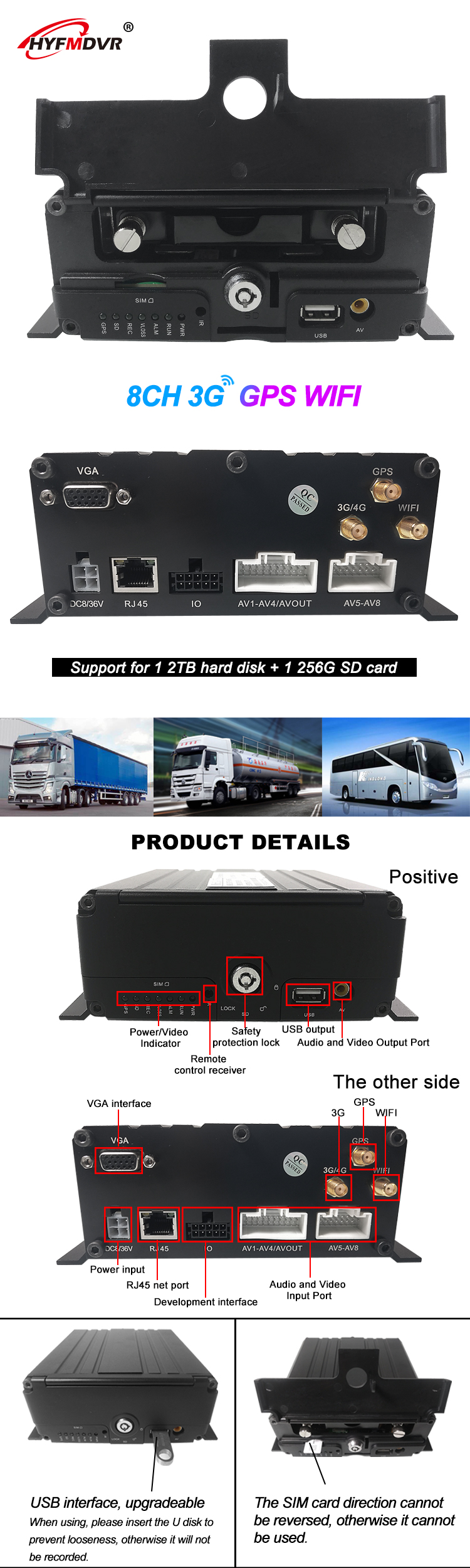 8CH FULL D1 HDD vehicle mobile DVR 8ch HDD/SSD MDVR with GPS 3g wifi