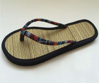 lady summer straw mat flip flops slippers