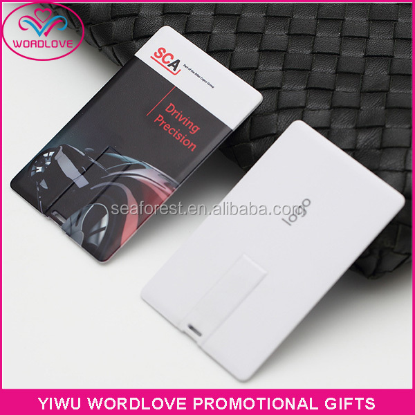 portable custom logo printing credit card USB flash drive 4GB memory stick