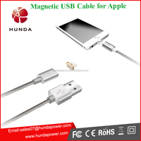 MFI Two sides slim Alloy nylon Braided Anti-dusty magnetic USB Cable for apple Iphone 6 smart phone