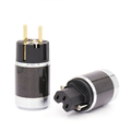 One pair EU Schuko Gold Plated Carbon Fiber AC Power Plug Finland France Netherlands Connectors extension adapter