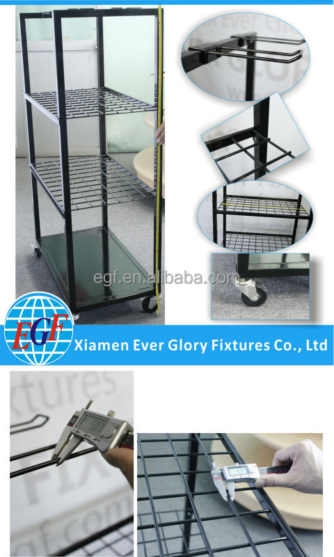 3 Tier Shelf with Hook Metal Wire Rack Floor Display Stand