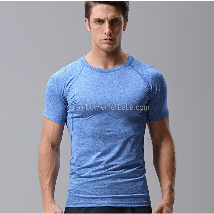 Heather Polyester Spandex Mens Short Sleeve Gym T Shirt Tapered Sports Tee Plain Dry Fit Bodybuilding T Shirt OEM