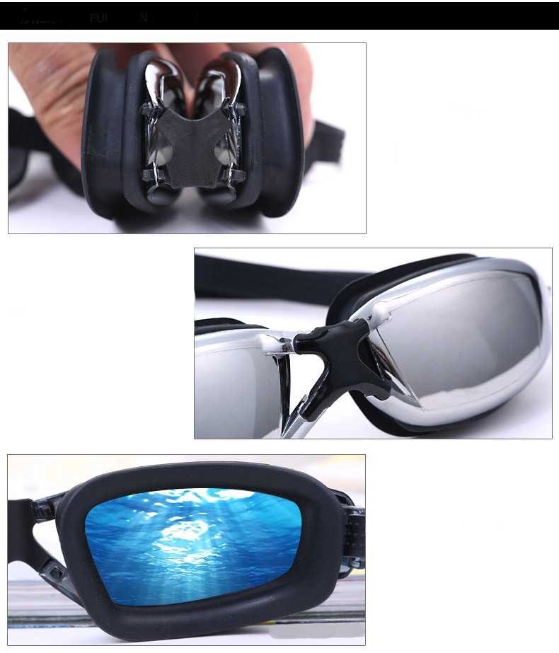 Excellent performance silicone anti fog swimming goggle
