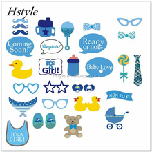 30 pcs/set Baby Shower Photo Booth Photobooth Props It's a Boy Girl Baby Shower 1st Birthday Fun Party Decoration Center PFB0084