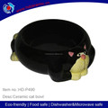 China supplier pet like pet ceramic bowl cat shaped cat bowl,black ceramic cat shape pet feeder bowl