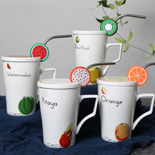 2018 New Products Breakfast Milk Cup Fruit Pattern Ceramic Coffee Mug With Straw