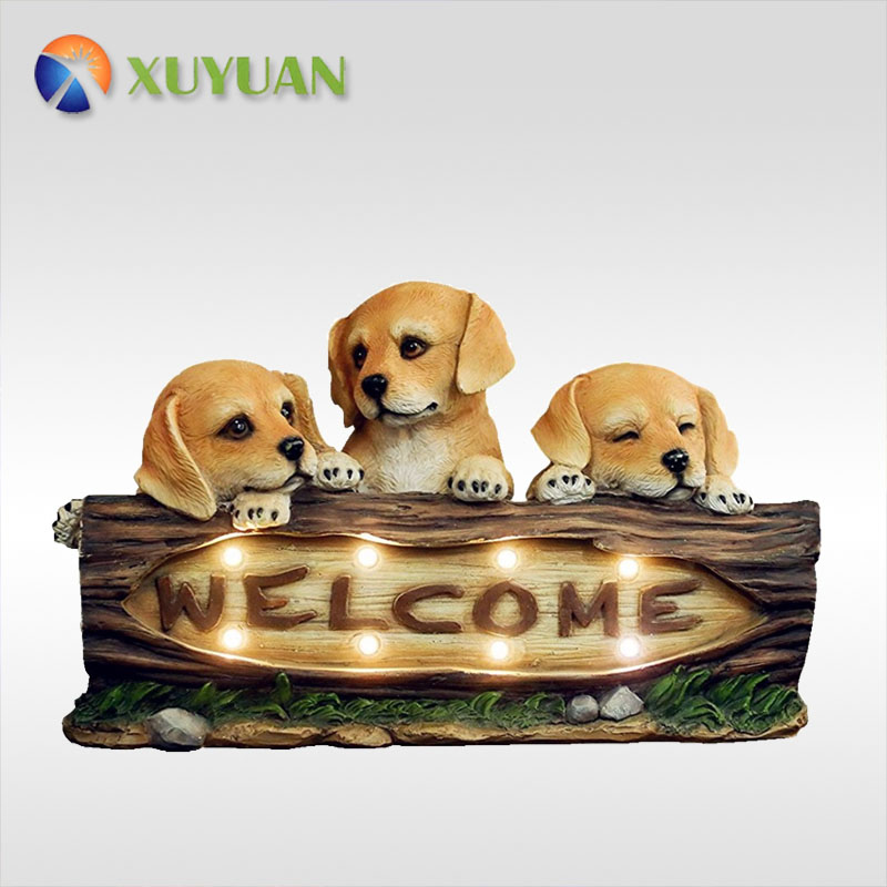 Garden Statues 15 Inch Solar Powered Welcome Dogs, with LED Lights, Outdoor Holiday Decorations