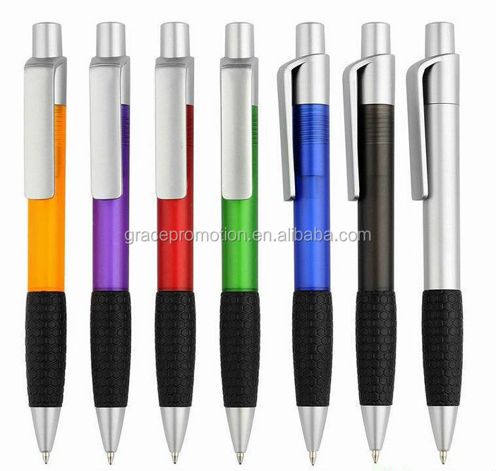 2015 colorful ball pen with rubber grip for promotion
