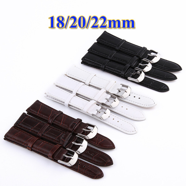 Leisure Business High Quality Durable Fashion 18/20/22mm Brown White Black Croco Grain Style PU Leather Watch Band Strap