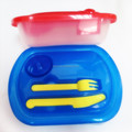 Wholesale food grade round shape plastic bento lunch box with knife fork