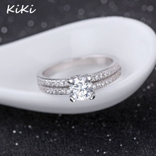 >>>Fashion Promotion Jewelry Ring Luxury CZ Diamond Zircon 100% 925 Sterling Silver Wedding Rings For Women