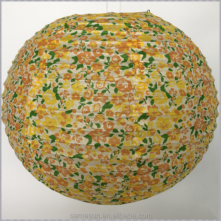 New design flower printed round paper lantern