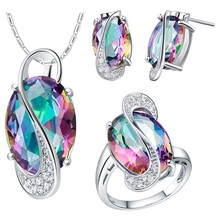 SJ brass metal silver plated women jewelry set ,colorful pendant necklace stud earring jewelry set
