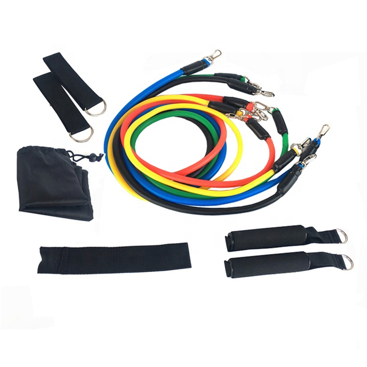 Wholesale sporting tube gym exercise set yoga fitness tpe 11 pcs <strong>resistance</strong> bands