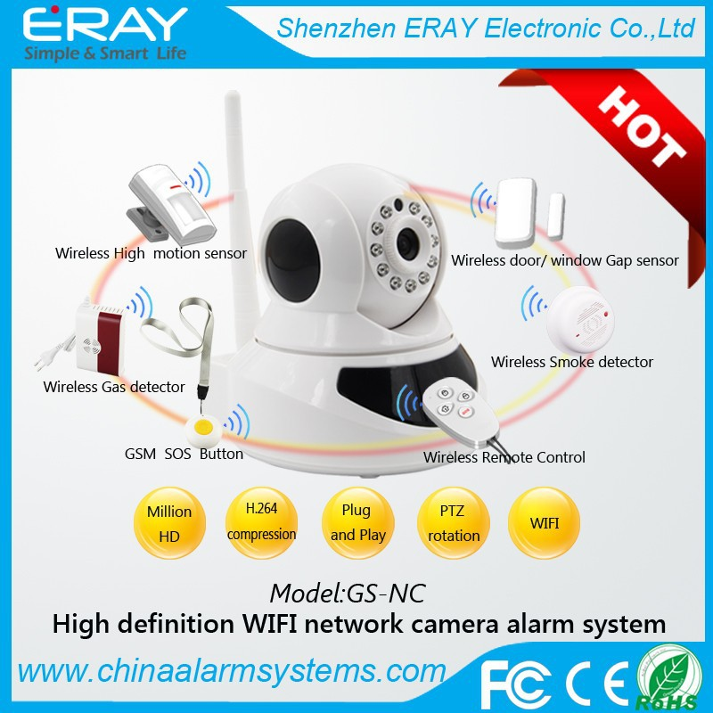 PNP P2P wireless WiFi hidden IP camera for GSM home security alarm system with remote control APP