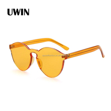 2016 Fashion Newest Design Transparent Candy Sunglasses Rimless Brand Design Integrated Sun Shade Glasses