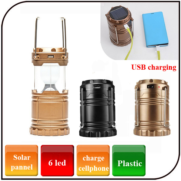 6 Led outdoor Plastic Emergency Rechargeable Portable Led Flashlight Lantern Solar Powerd Camping Lantern with USB Port